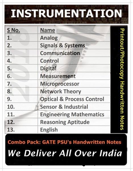 GATE Instrumentation Engineering Handwritten Notes